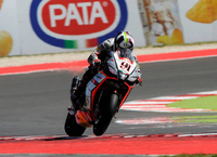 Aprilia on the Misano SBK Podium with Leon Haslam