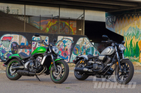 JAPANESE CRUISERS COMPARED: Kawasaki Vulcan S vs. Star Bolt R-Spec Muscle and bob job rumble on the mean street.