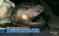 Motorcyclist Struck By Lightning, Crashes, Survives