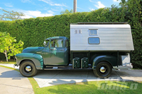 "Steve McQueen's Awesome 1952 Chevy Camper Up For Sale Dark green with custom ""Dust Tite"" shell, original mattress (?!) and more."
